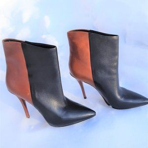 BRIAN ATWOOD Black and Tan Leather Ankle  Booties